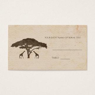 African Safari Two Giraffe Wedding Table Seating Business Card