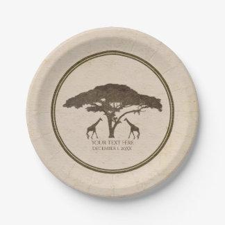 African Safari Two Giraffes Vintage Wedding Paper Plate