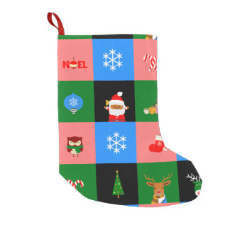 african santa claus colorblock stocking