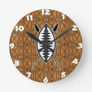 African Shield and Spears Wall Clock