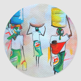 African Style Greeting card Classic Round Sticker
