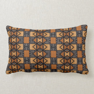 African Style Pattern in ochre, black, white. Lumbar Cushion