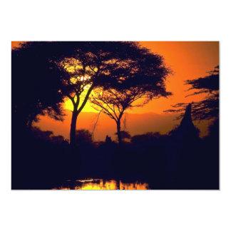 African sunset, Arusha National Park, Tanzania Card