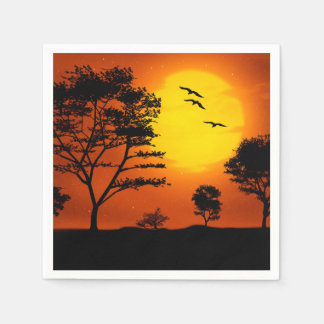 African Sunset Disposable Serviettes