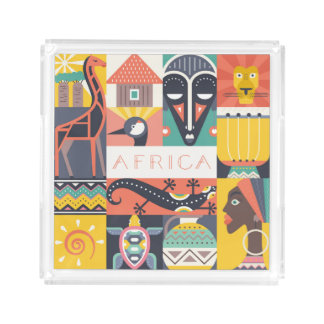 African Symbolic Art Collage Acrylic Tray