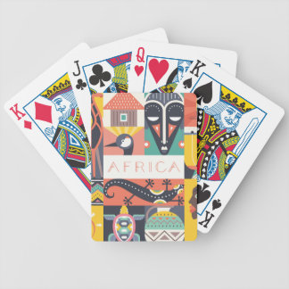 African Symbolic Art Collage Bicycle Playing Cards