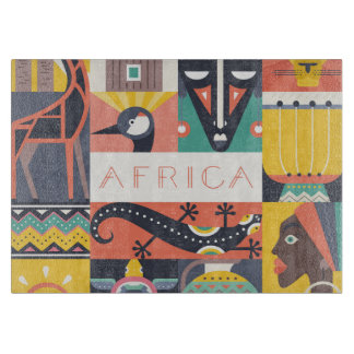 African Symbolic Art Collage Cutting Board