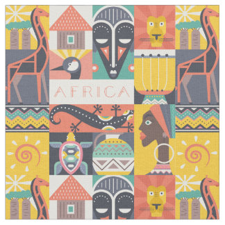 African Symbolic Art Collage Fabric