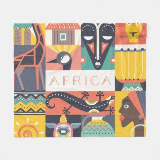 African Symbolic Art Collage Fleece Blanket