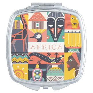 African Symbolic Art Collage Mirror For Makeup