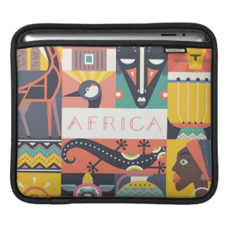 African Symbolic Art Collage Sleeve For iPads