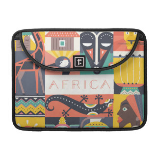 African Symbolic Art Collage Sleeve For MacBook Pro