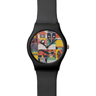 African Symbolic Art Collage Watches