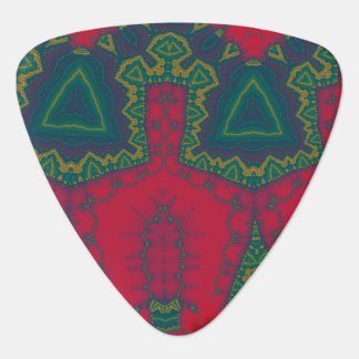 African Triangles Tribal Fractal - Green and Red Pick
