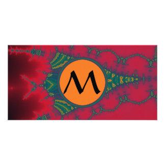 African Tribal Fractal with Monogram on Orange Custom Photo Card