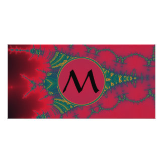 African Tribal Fractal with Red Monogram Photo Card
