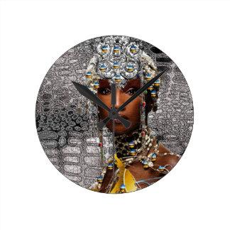African Tribal Queen Round Clock
