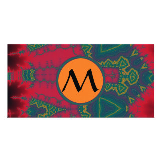 African Tribal Triangles with Yellow Monogram Personalised Photo Card
