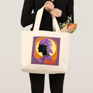 African Tribal Woman Ethnic  Illustration Large Tote Bag