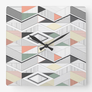 African vector striped chevron square wall clock