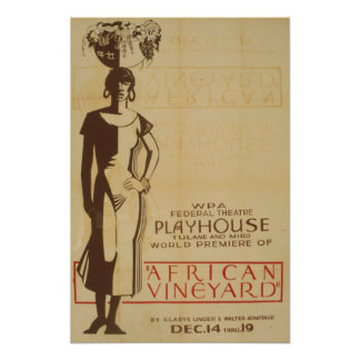 African Vineyard Vintage WPA Theater Poster