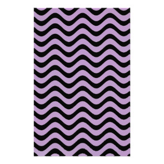 African Violet And Black Waves Graphic Art Pattern Personalized Stationery