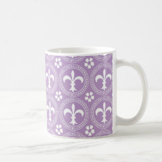 African Violet And White Fleur De Lis Pattern Mugs