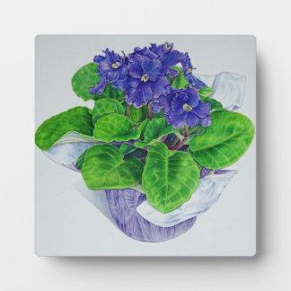 African Violet Plaque