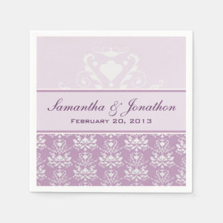 African Violet & Silver Damask Wedding Disposable Napkin