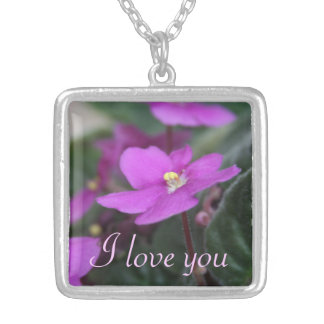 African Violets Personalized Square Pendant Necklace