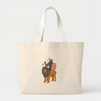 African Warrior Spear Hunting With Lion Drawing Large Tote Bag