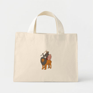 African Warrior Spear Hunting With Lion Drawing Mini Tote Bag