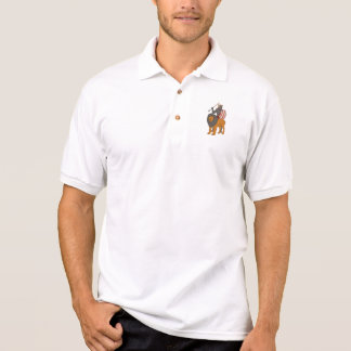 African Warrior Spear Hunting With Lion Drawing Polo Shirt