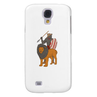 African Warrior Spear Hunting With Lion Drawing Samsung Galaxy S4 Case