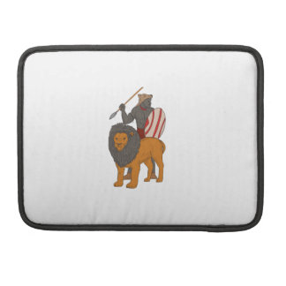 African Warrior Spear Hunting With Lion Drawing Sleeve For MacBook Pro
