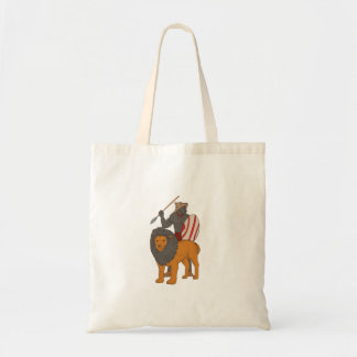 African Warrior Spear Hunting With Lion Drawing Tote Bag