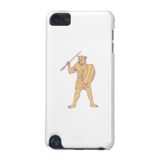 African Warrior Wolf Mask Spear Drawing iPod Touch 5G Cover