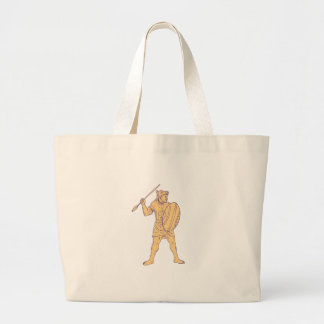 African Warrior Wolf Mask Spear Drawing Large Tote Bag