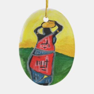 African Woman Ceramic Ornament