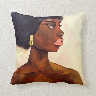 African Woman portrait of June (K.Turnbull Art) Cushion