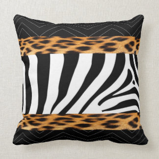 African  Zebra and Leopard Print Cushion