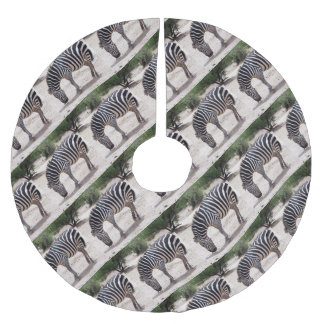 African zebra at the zoo brushed polyester tree skirt