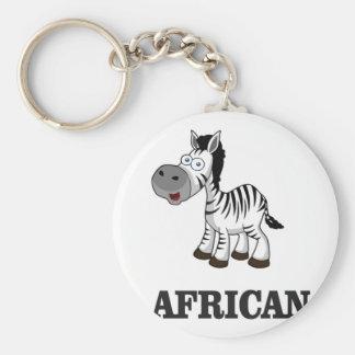 African Zebra Basic Round Button Key Ring