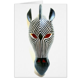 african zebra mask card greeting card