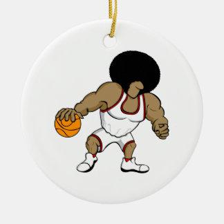 Afro basktball player ceramic ornament
