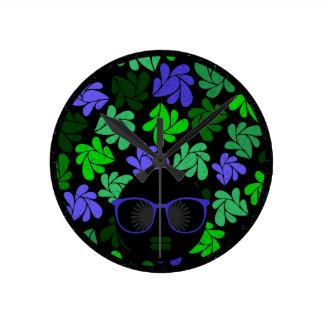 Afro Diva Green & Blue Round Clock