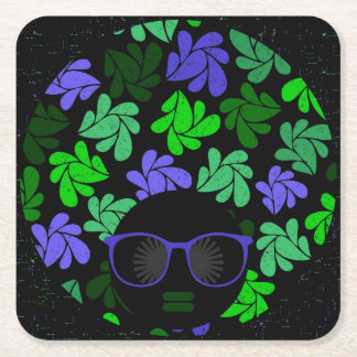 Afro Diva Green & Blue Square Paper Coaster