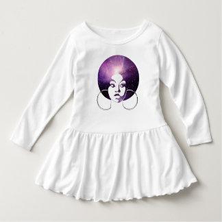 Afro Diva Purple Galaxy Girls Long Sleeve Ruffle T Dress