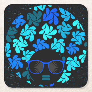 Afro Diva Teal Turquoise Party Supplies Square Paper Coaster