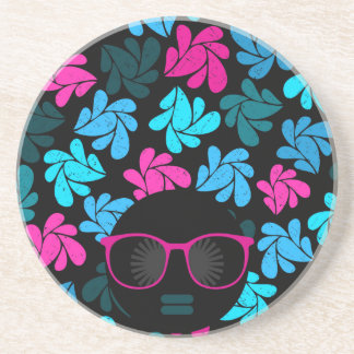 Afro Diva Turquoise & Hot Pink Coaster